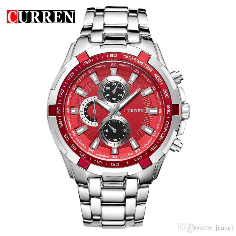 CURREN Relojes para hombres Relojes de pulsera militares para hombres de lujo de primeras marcas Relojes deportivos para hombres de acero inoxidable completo Relojes de pulsera militares Relogio 8023