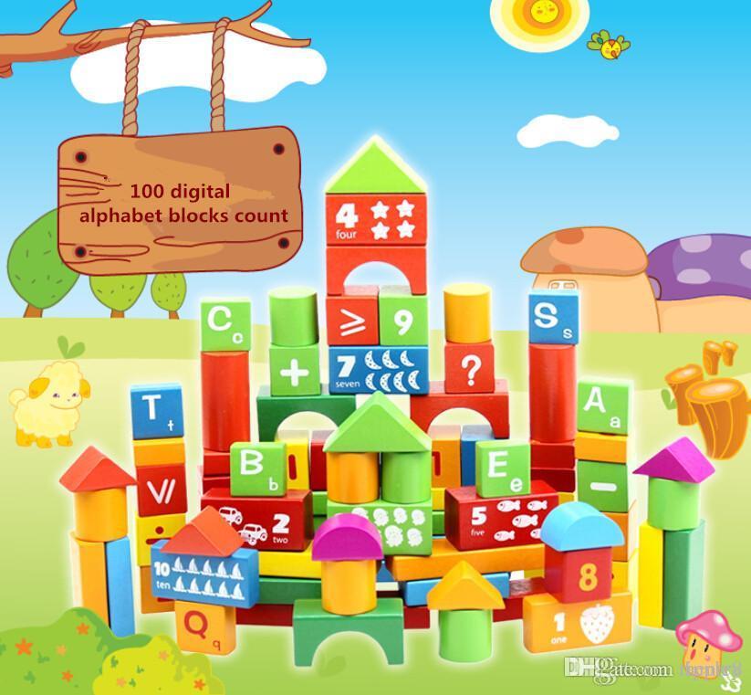 100 алфавитно-цифровой стволом блоков. Кусок раннего детства воспитательный деревянный игрушек твердой древесины, цветастых строительных блоков осуществляет независимое