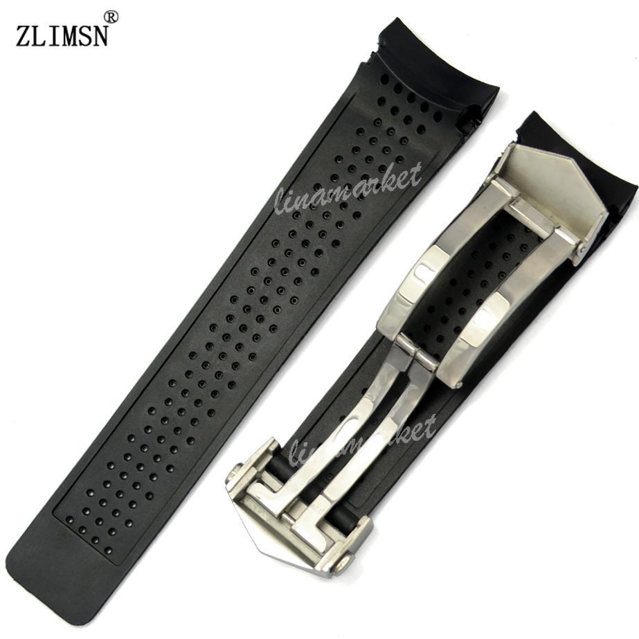 Watch Band Zlimtsn Spor İzle Bantları 22mm 24mm Watchbands Siyah Dalış Silikon Kauçuk Delikler İzle Band Askı Siyah Altın Saat Bandosu