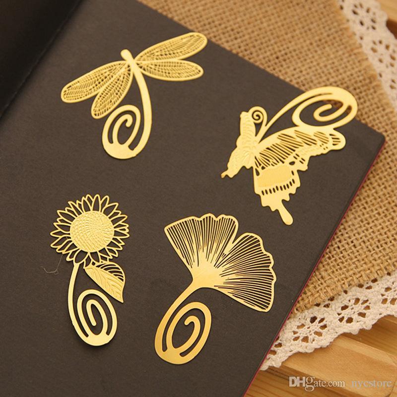 NEW Wedding Gold segnalibro piuma Olive ginkgo metal paragraph Segnalibri creativi