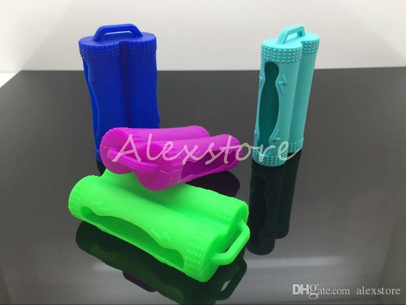 Silicone protettivo della copertura proteggere protezione sicuro custodie colorate in gomma per batteria Sony vtc3 vtc4 vtc5 LG dual batterie doppio 18650