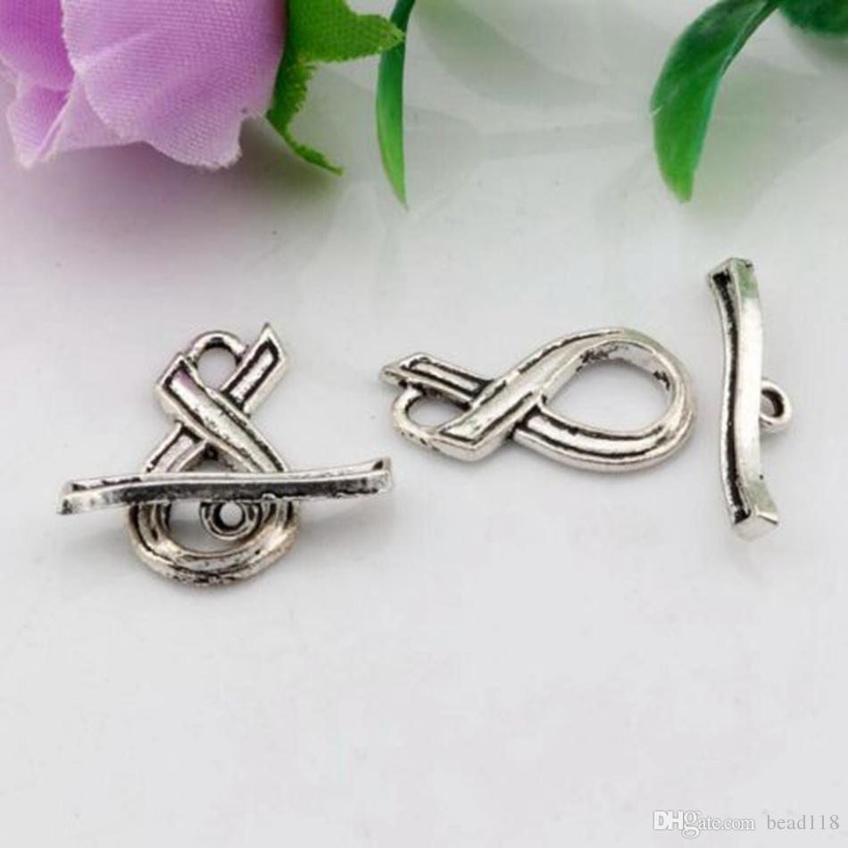 50 conjunto antigo prateado liga fita em forma de alavanca ganchos de clasps para jóias fazendo bracelete colar diy acessórios