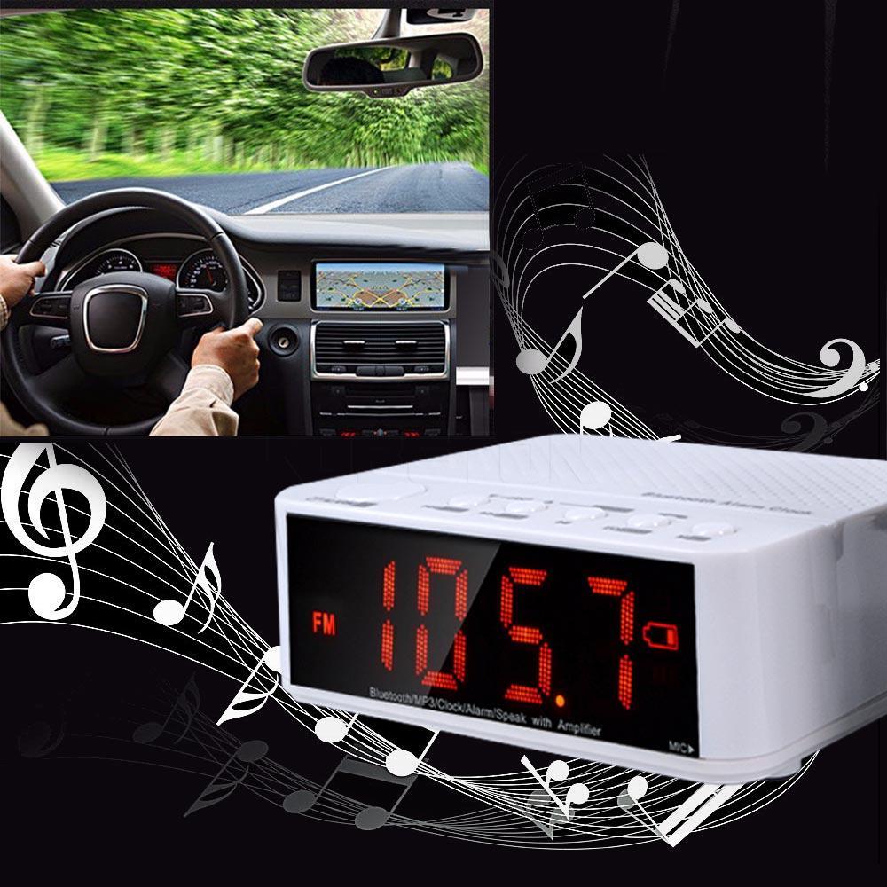 Freeshipping Multifunctional Bluetooth Speaker Mini Portable Wireless Amplifier FM Radio LED Alarm Clock Wireless For Mobile Phone