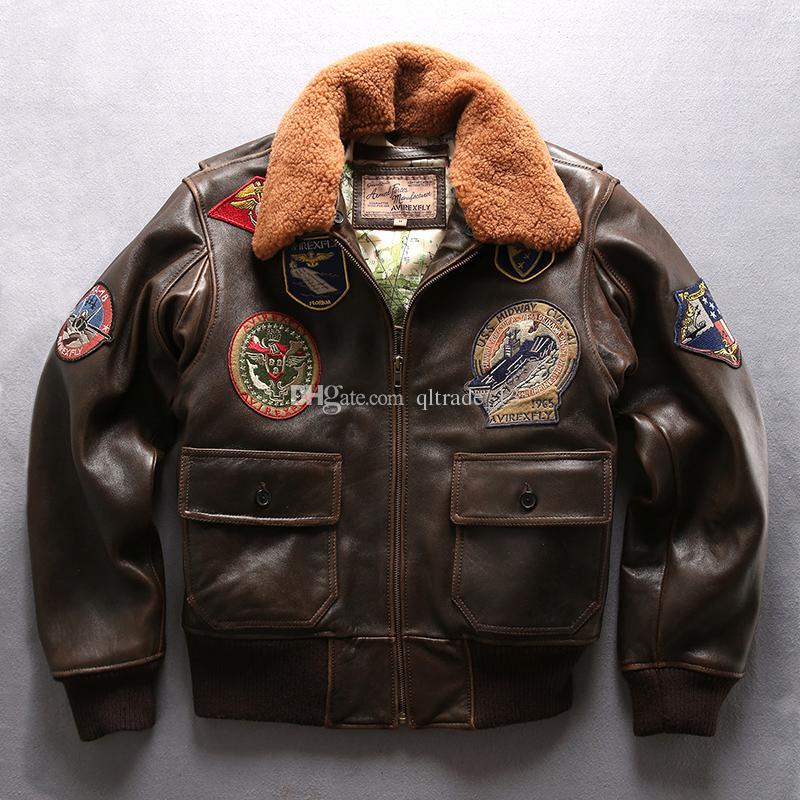 Acquista Giacche Di Pelle Di Montone Da Uomo Vintage Marrone Bomber Da Volo Giacche Air Force G1 Giacca Da Volo USS GALVESTON Collo Di Pelliccia Di