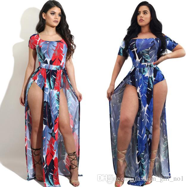 2017 New European And American Style Rompers Feather prints Jumpsuits Fashion Women's Clothing for Autumn Wide-leg Trousers