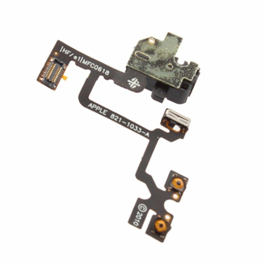 Cavo flessibile della flessione del commutatore del volume di potere della presa audio della cuffia per il commercio all'ingrosso libero di trasporto di iPhone 4 4G