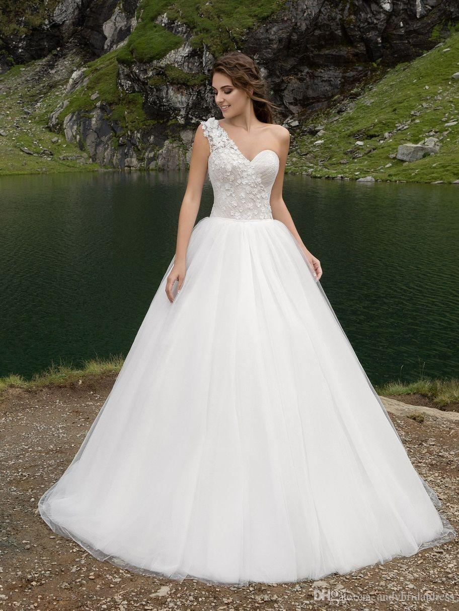 1fa679f4b96f Vintage One Shoulder 3D Flowers 2018 Wedding Dress Lace Up Tulle A Line  Wedding Gowns Bridal ...