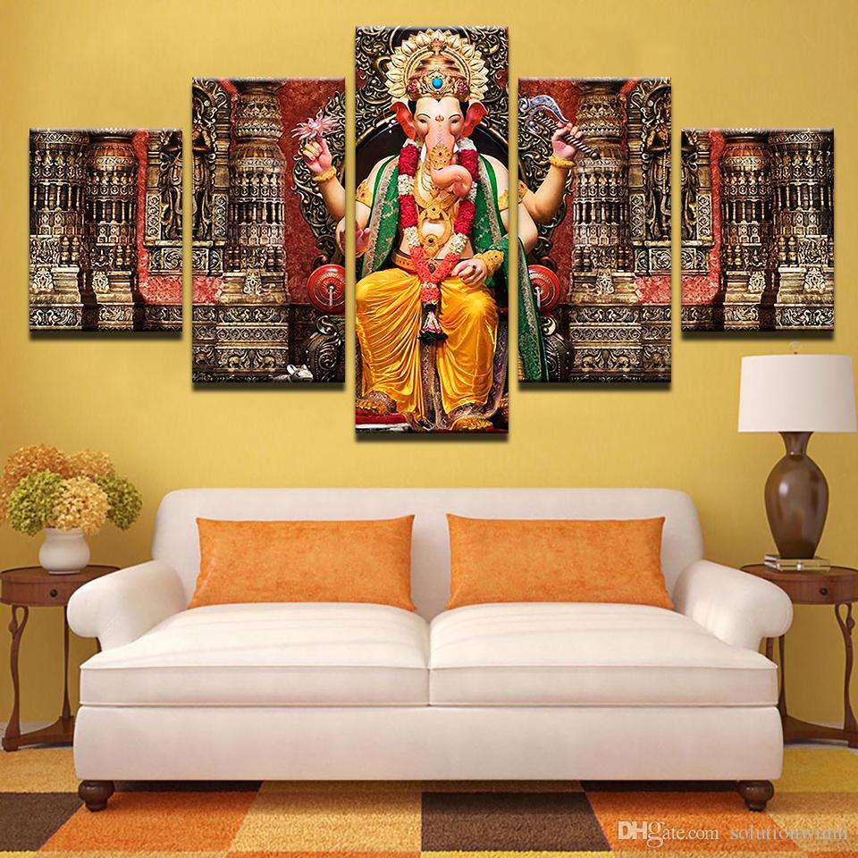 Fantastisch 5 Teile / Satz Leinwand Bilder HD Drucke Wandkunst Indien Religion Elephant  Ganesh Gemälde Für Wohnzimmer