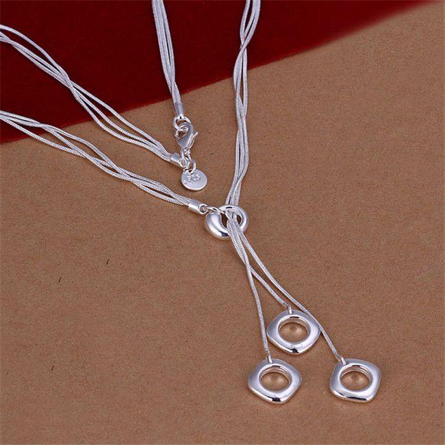 Fashion 925 Sterling Argent Massif Bijoux 5 chaine boule collier pour femmes N222