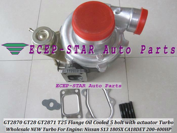 GT2870 GT28 GT2871 T25 Flansch wassergekühlt und Öl 5 Bolzen mit Stellantrieb Turbolader für Nissan Motor S13 180SX CA18DET 200PS-400PS