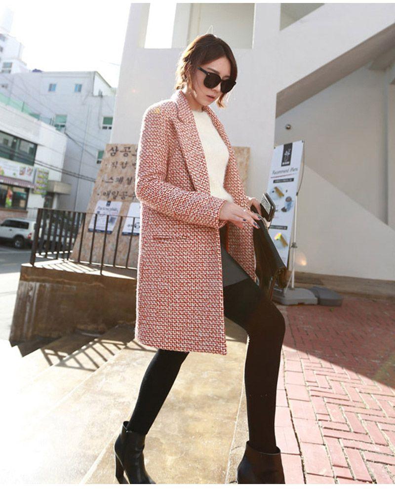 الصوف الفاخرة معطف الشتاء النساء جودة عالية 2018 الأزياء معطف طويل يمزج معاطف casacos femininos خمر مخطط