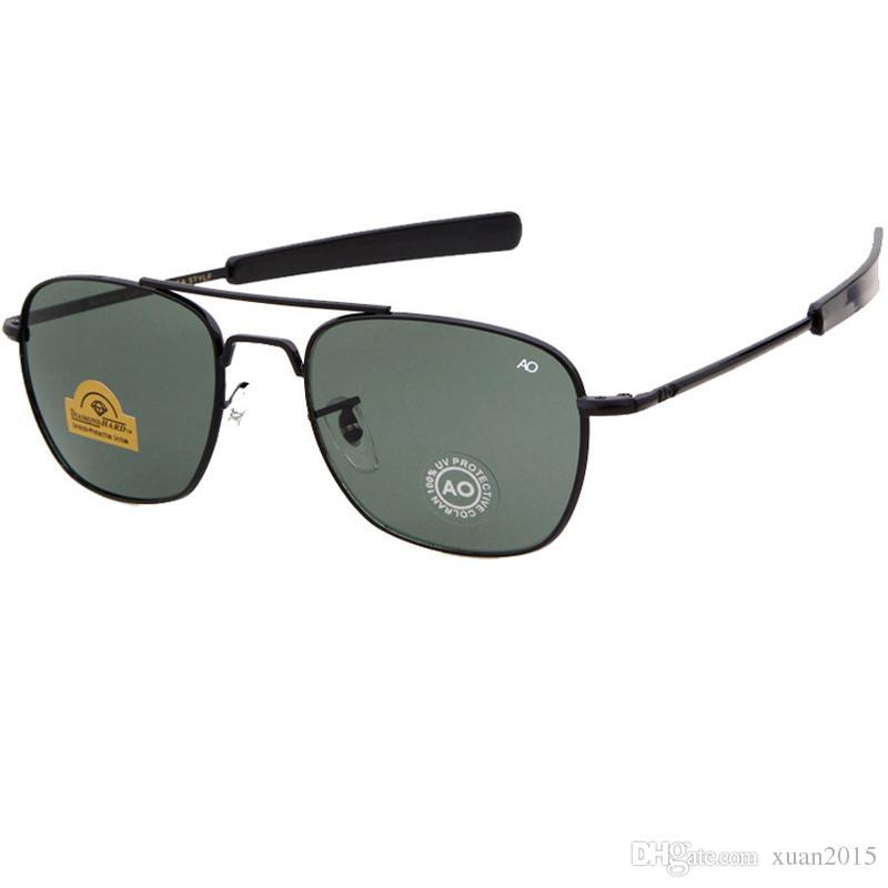 Plus récent chaud armée AO Pilot Lunettes de soleil pour hommes Lunettes de Soleil Mode Hommes Lunettes UV400 Oku Ross De Sol - Hommes Lunettes de soleil Y256