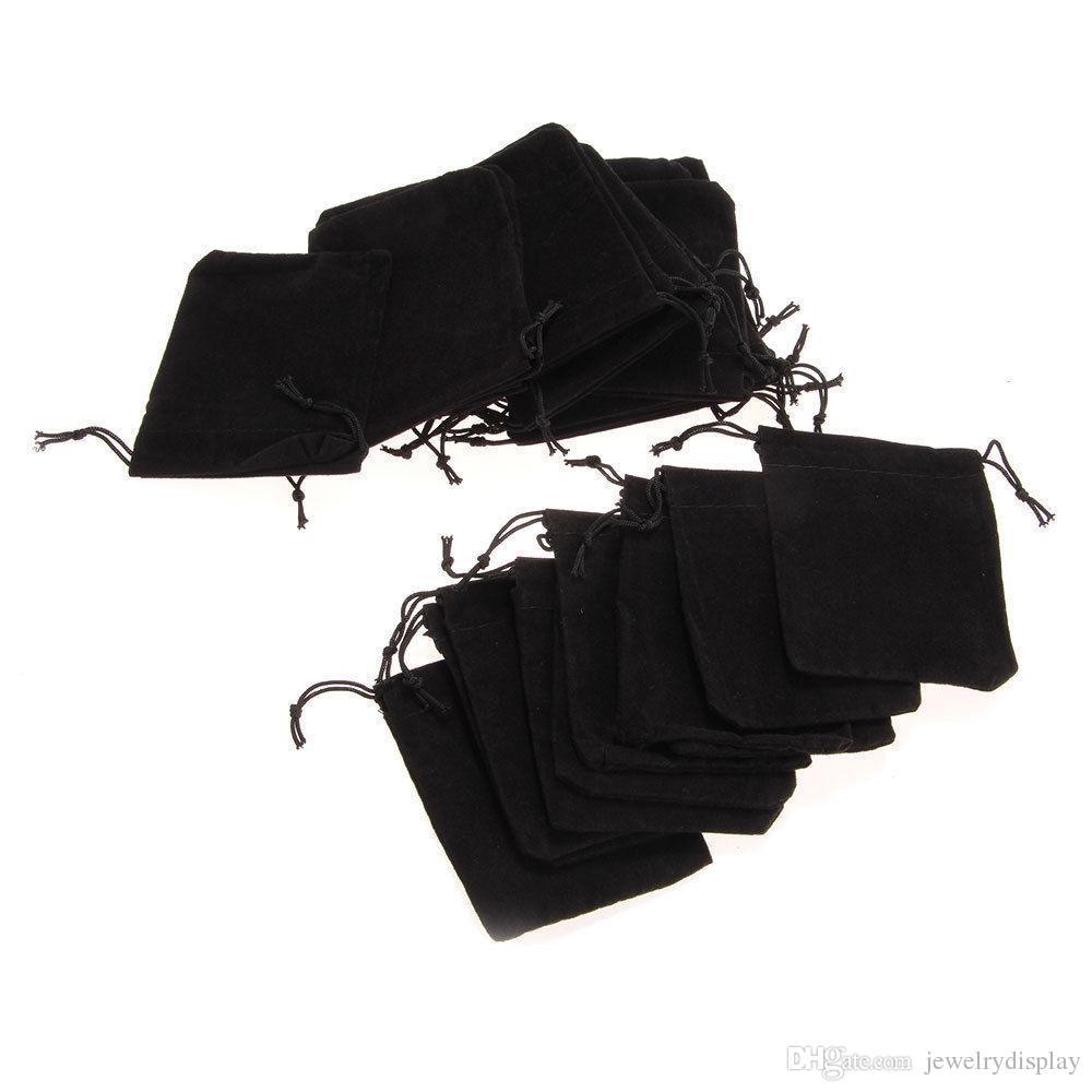 Sacchetto di immagazzinaggio del sacchetto del cordone dei monili del regalo del velluto che avvolge le borse nere dei sacchetti Favori di velluto del partito Piccolo sacco di panno dell'anello del sacchetto 7 * 9cm 25pcs / Lot
