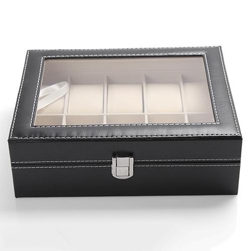 Atacado-10 Slots Organizer Caso de couro falso de armazenamento Titular relógio de pulso caixa de exibição