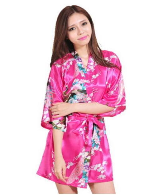 Sexy Femmes Soie Satin Chemise De Nuit Demoiselle D'honneur Kimono Robe Pyjamas Robe De Chambre Peignoir Vêtements De Nuit Court Cardigan Robe De Cou