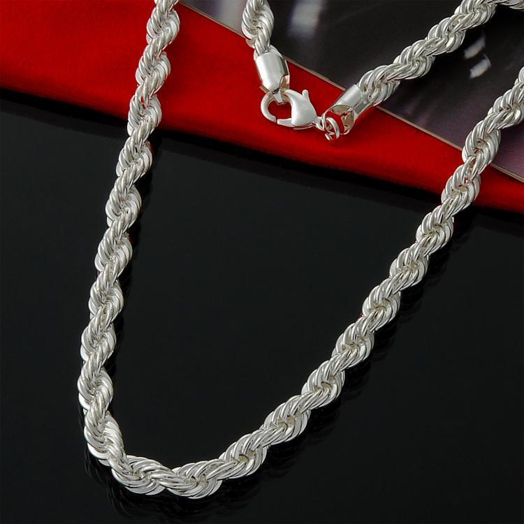 Moda hombres de las mujeres collar de cadena gruesa soga trenzada 4mm joyería 18 pulgadas chapado en plata de ley 925 de envío gratis