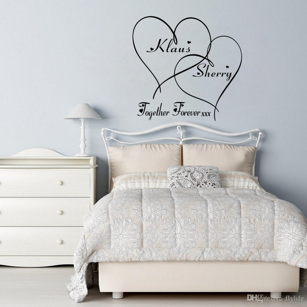 Love Wall Decals Customer Made Couples Name Romantic Personalised Together  Forever Hearts Bedroom Wall Art Sticker White Vinyl Wall Decals White Wall  ...
