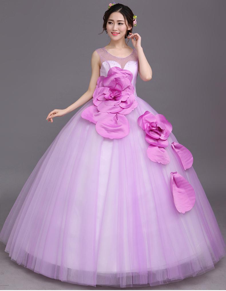 rhinestone rebordear vestido de bola de la cintura púrpura flor púrpura vestido medieval Renacimiento vestido princesa victoriana / Marie Antoinette