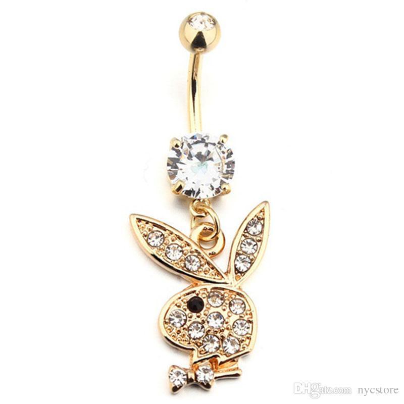Tavşan Altın Kaplama Dangle Belly Button Göbek Yüzükler Piercing Takı Gem