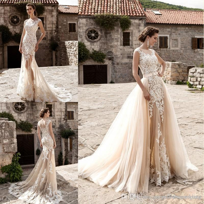 Sexy mermaid wedding dresses with detachable train 2017 new cew neck sexy mermaid wedding dresses with detachable train 2017 new cew neck sheer lace appliqued church bridal junglespirit Images
