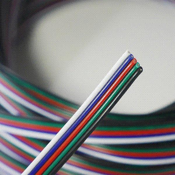Freeshipping 20 m 5-pin kablo tel 22 AWG RGB Uzatma Mavi / Kırmızı / Beyaz / Yeşil / Siyah için RGBW SMD 5050 3528 Led RGB şerit ışık