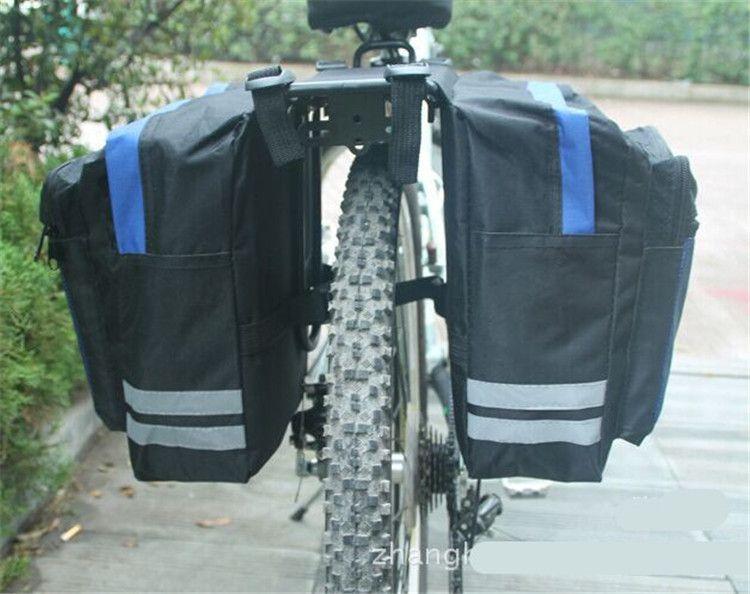 Borsa da sella per bicicletta da ciclismo nera Borse da bici Borsa da sella posteriore in PVC e nylon impermeabile con doppio lato posteriore Borsa per borse laterali Accessori per biciclette