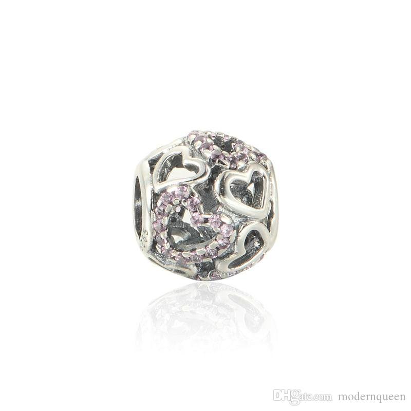 Charms del cuore galleggiante Swarovski perline per gioielli per la fabbricazione di gioielli in argento 925 fascini fai da te si adattano braccialetto e collana