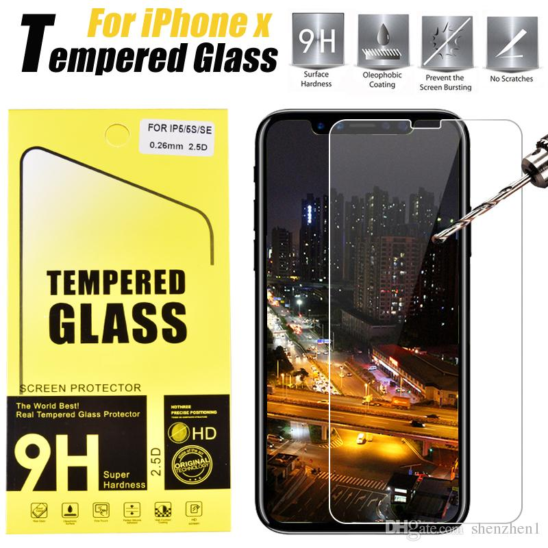 For Iphone X 8 7 7 plus 6s plus Screen Protector Film Tempered Glass For IPHONE Samsung S5 S6 S7 WITH retailbox SSC044