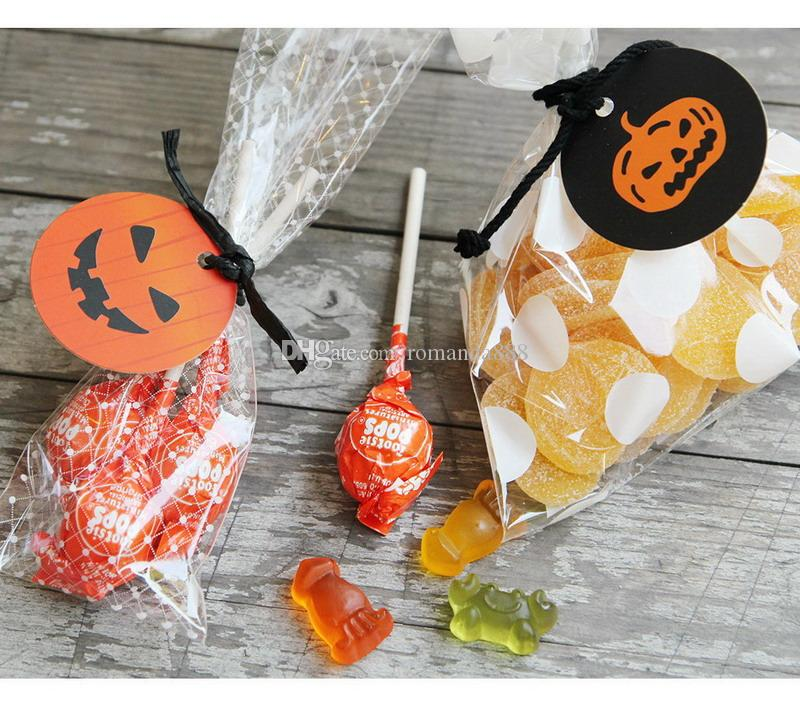 100pcs/set Halloween Gift Tags Smile Pumpkin Paper Tags Halloween Party Favor Labels Hang Tags Gift Wrapping DHL Free Shipping