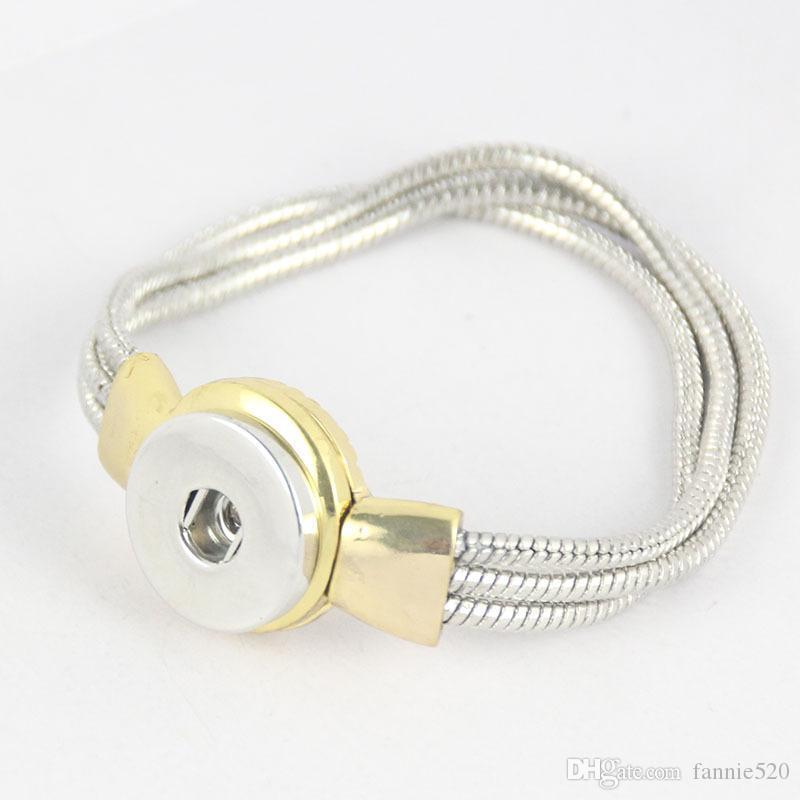 DIY Noosa Chunk chaîne serpent Bracelets alliage accrochage Noosa bracelet bracelets bouton-pression de la personnalité de bricolage bracelets de serpent jaune de Noosa