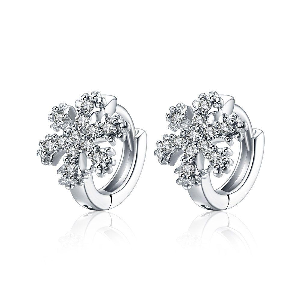 White Glittering CZ Snowflake Frozen Hoop Earrings 1Pair