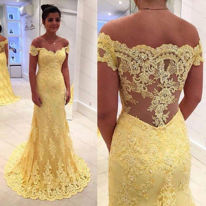 Délicat jaune dentelle robes de soirée arabe Dubai caftan appliques hors épaule robe de soirée en dentelle robe de bal arabe Arabian Abaya robe de fête longue