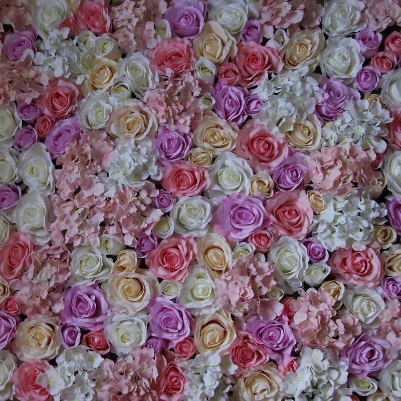 Blumen-Wandhochzeits-Hintergrundrasen / -säulenstraßen-Bleimarktdekoration des EMS-freien Verschiffen-heißen 10pcs / lot künstliche silk rosafarbene