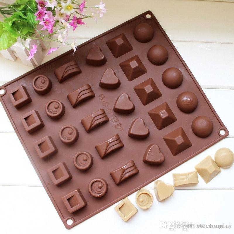 Quadratisches weiches Silikon-Herz-runde Schokoladen-Form-Eis-Würfel-Behälter-Gelee-Süßigkeits-Form H2010221