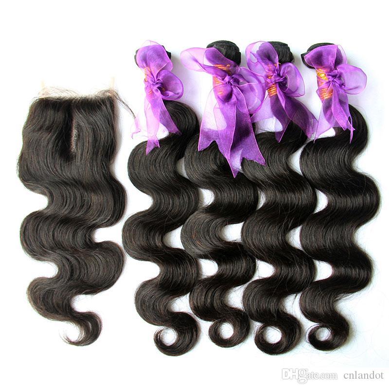 5 قطع الكثير الكمبودي الجسم موجة الشعر مع إغلاق الصف 8a غير المجهزة الإنسان الشعر نسج 4 حزم إضافة أعلى الدانتيل إغلاق اللون الطبيعي