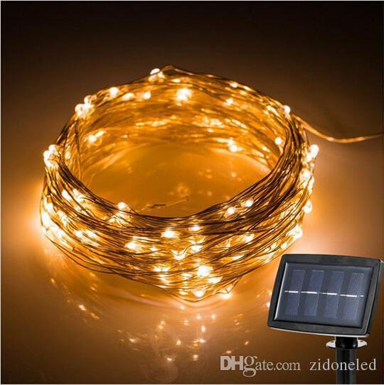 (200)의 LED 옥외 LED 문자열 조명 태양 광 발전 구리 와이어 요정 조명 코트 야드 웨딩 파티 정원 크리스마스 조명 장식