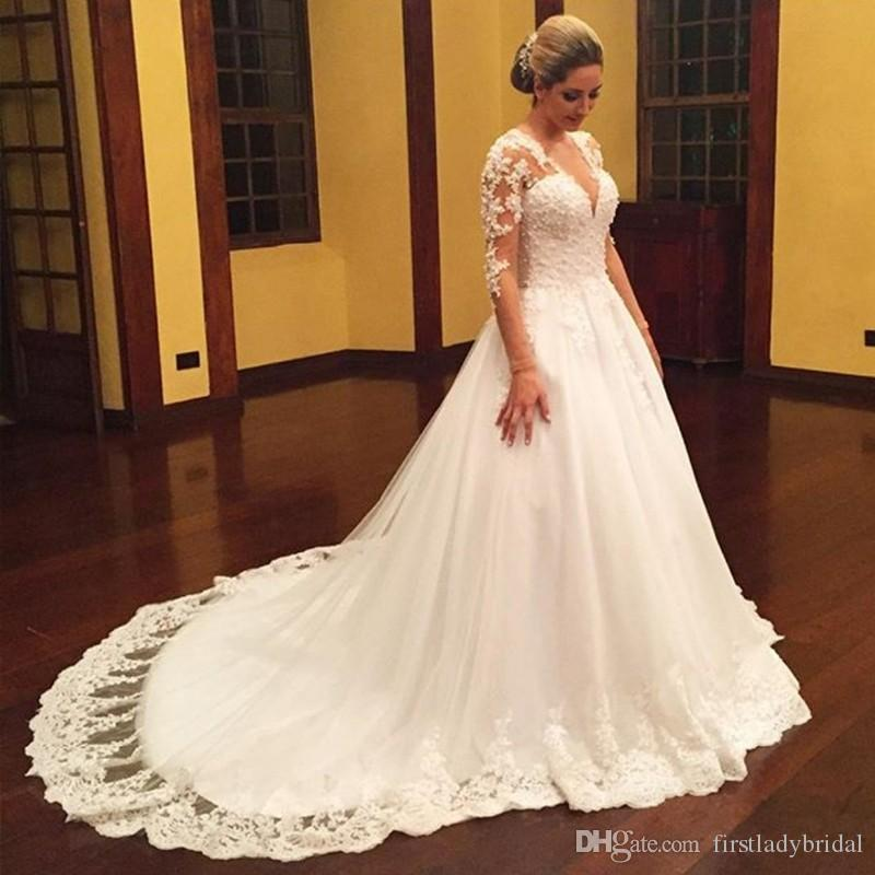 2017 Designer Wedding Gowns Dresses With Long Sleeved Sexy V-neck A-line Bridal Gown Court Train New Arrivals Elegant Robe De Mariee Prince