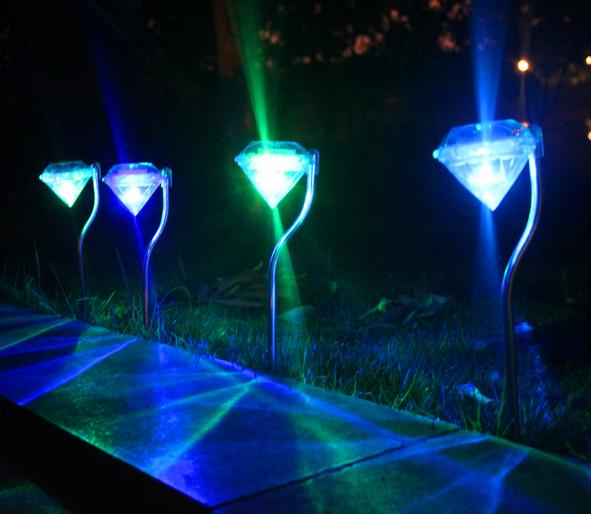 Discount new led solar outdoor light for garden decoration diamond new led solar outdoor light for garden decoration diamond rgb full color change led solar christmas lights yard lighting fast shipping aloadofball Choice Image