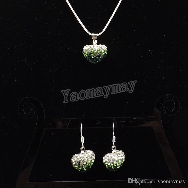 Heart Shape Rhinestone Pendant Jewelry Set Gradient Green Color Earrings And Necklace For Women 5 Sets Wholesale