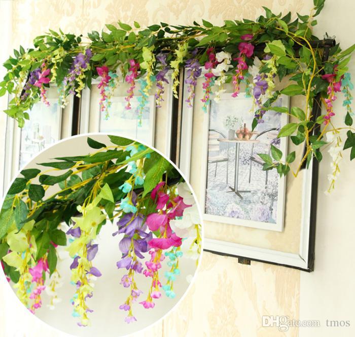 "200cm/78.7 "" Silk Flowers Artificial Purple Flower Wisteria Vine Rattan Wisteria Garland For Wedding Home Garden Decoration Festival Day"