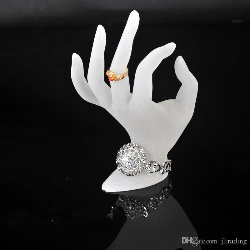ジュエリーディスプレイリングスタンドアクリルリングブレスレットネックレスホルダーディスプレイホワイトOK手形形嫌い