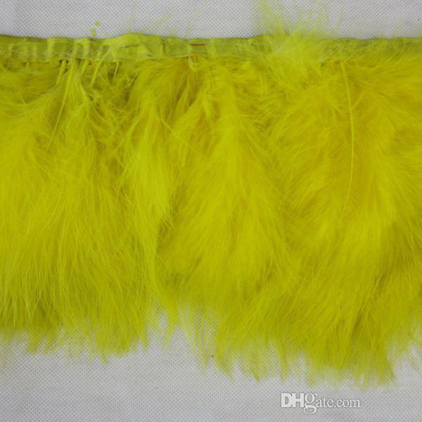 2Yards / adet Sarı Marabou Tüy Birçok Renk Tüy Fringes Marabou Feathers Şerit Trim Fringe Benzersiz Dikiş Tüy Kesme Kırpma