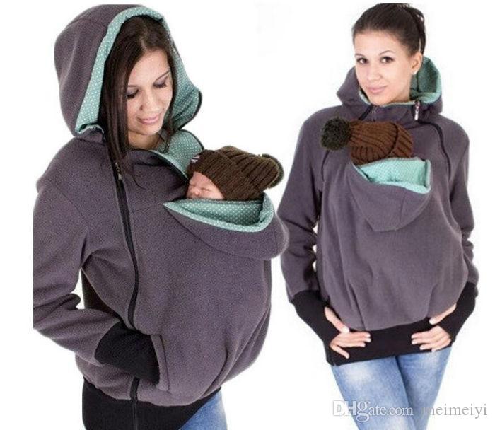 الحرة الشحن النساء ملابس الطفل يحمل الناقل الكنغر هوديي لأمي والطفل يرتدي هوديي البلوز الأمومة