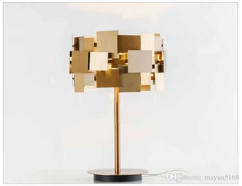Großhandel led metall tischlampe moderne edelstahl gold polierte