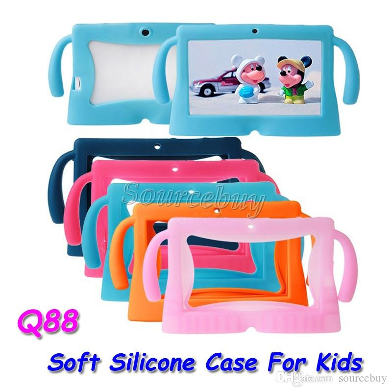 Colorful Big kawaii Ears Series Safety Soft Silicone Gel Cover Case for Q88 7 Inch Android Tablet PC Cases universal Kids Children 50pcs