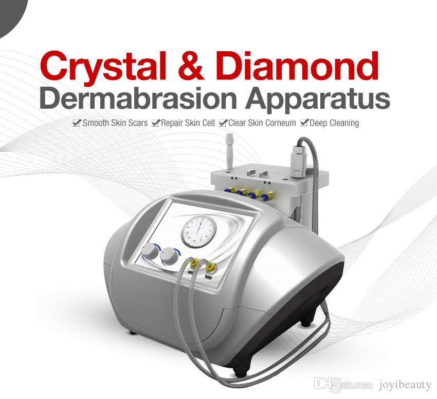 Popular calidad 2 en 1 cristal microdermabrasión piel y diamante dermoabrasión facial cuidado de la piel equipo de spa eliminar las manchas de arrugas