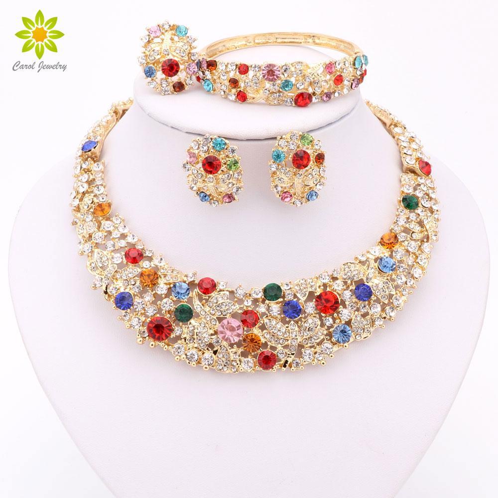 Wedding nigeriano Beads africanos Conjunto de jóias de cristal de ouro 18K Jóias Set Acessórios Wedding Party