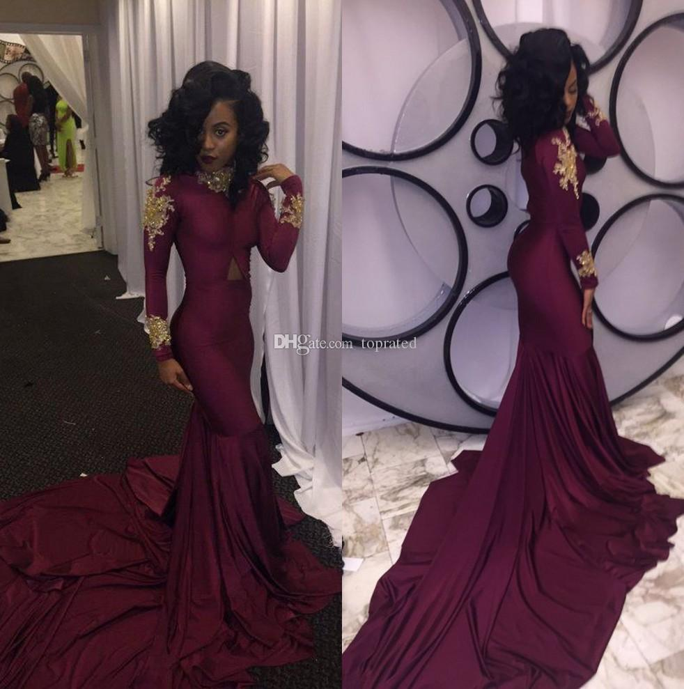 Burgundy Long Sleeves Prom Dresses Mermaid High Neck With Gold Applique Chapel Train 2019 Black Girl 2k16 Evening Gowns Pageant Party Dress Best Prom