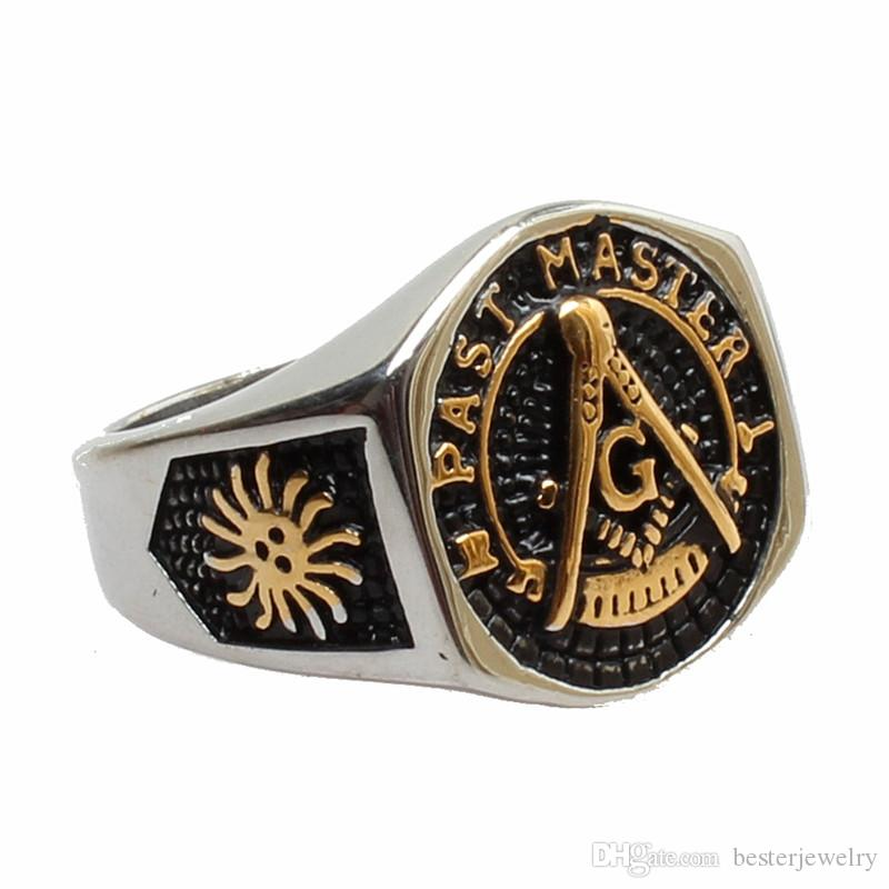 5pcs/lot mixed size gold men's ring jewelry 316l stainless steel Masonic freemasonry signet rings with crystal gem ring