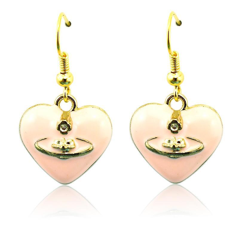 Mode charmes boucles d'oreilles en acier inoxydable Dangle 5 couleur émail coeur pendentifs plaqué or boucles d'oreilles pour les femmes bijoux